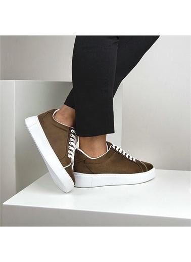 OKHU SHOES Kadın Süet Bağcıklı Günlük Sneaker Spor Ayakkabı Haki